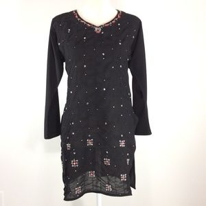 Tops - Black Tunic Embroidered Red & White Beads S R407